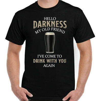 £9.49 • Buy GUINESS T-SHIRT Mens Hello Darkness My Old Friend Beer Alcohol BBQ Guinness Tee