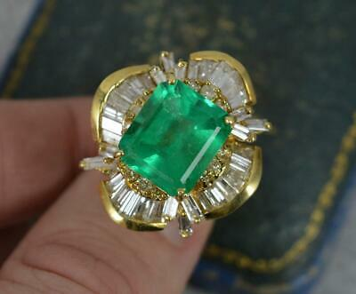 £9975 • Buy Huge Impressive Colombian Emerald And Diamond Heavy 18ct Gold Cluster Ring
