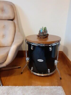 Upcycled Drum Side Table With Hardwood Top • 95£