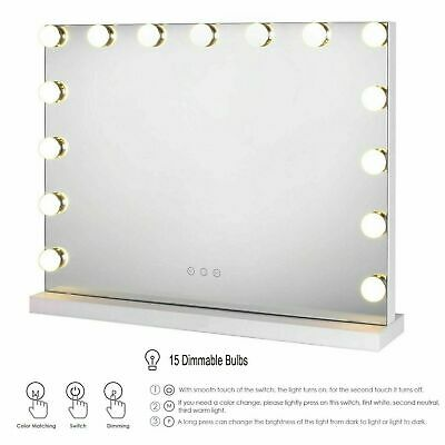 Tabletop Hollywood Vanity Makeup Mirror With 15 Dimmable LED Bulbs Lights White • 65.99£