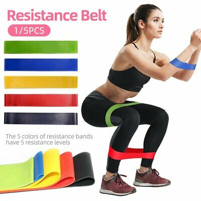 AU5.99 • Buy 5pcs Set Resistance Bands Loop GYM Fitness Exercise Fitness Gym Crossfit Yoga AU