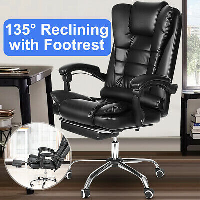 Executive Office Chair Swivel Computer Gaming Chair Leather Recliner Task Seat • 85.88£