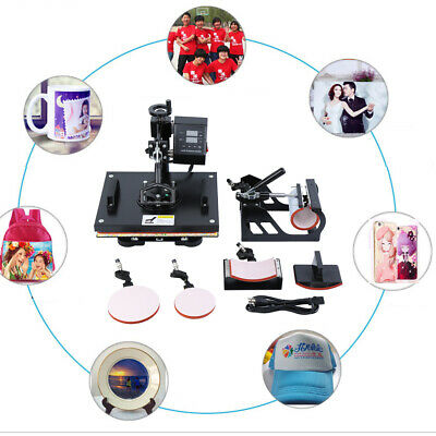 AU256.25 • Buy 5in1 Heat Press Machine Transfer Sublimation 3D Printer T-Shirt Cup Plate 15x12