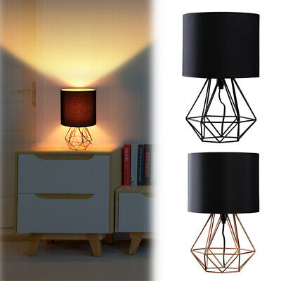 £18.98 • Buy Modern Bedside Table Lamp 40cm Geometric Wire Cage Lights Copper Chrome Black