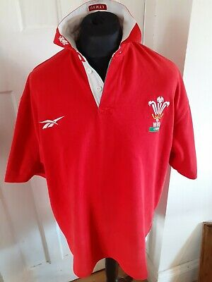 £95 • Buy Wales 1998-1999 Reebok Jersey Rugby Union Short Sleeve Shirt Red Vintage XL