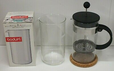 Bodum Cafetiere With Spare Glass 1L 34floz Coffee Maker 8 Cup French Press • 19.99£
