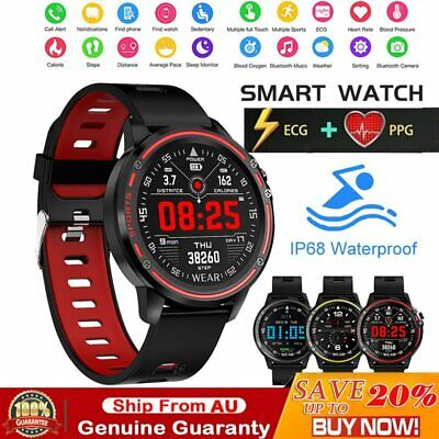 AU55.09 • Buy L8 Smart Watch Bluetooth Heart Rate Monitor Fitness Waterproof For Android IOS