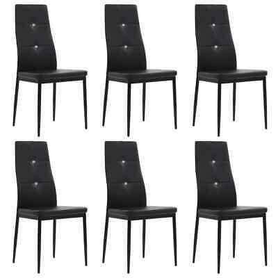 AU256.89 • Buy Dining Chairs 6 Pcs Black Faux Leather