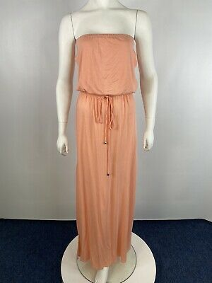 £4.99 • Buy River Island Coral Pink Boobtube Maxi Dress With Slit XS