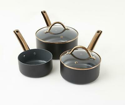 3 Piece Black Ceramic Saucepan Set Non Stick Pan • 36.99£
