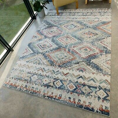 £59.95 • Buy Colourful Aztec Tribal Rug Distressed Kilim Style Moroccan Easy Living Large Rug
