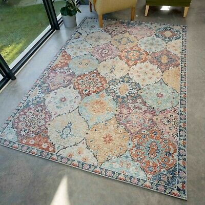 £59.95 • Buy Colourful Rugs For Living Room Floral Pastel Muted Toned Kilim Large Carpet Mats