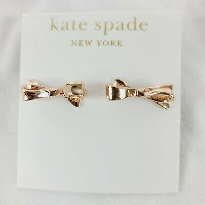 $ CDN26.22 • Buy Kate Spade Rose Gold Skinny Bow All Tied Up Stud Earrings With Dust Bag