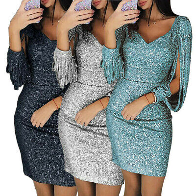 AU24.49 • Buy Womens Bodycon Long-Sleeve Shiny Sequins Mini Dress Cocktail Party Evening Sexy