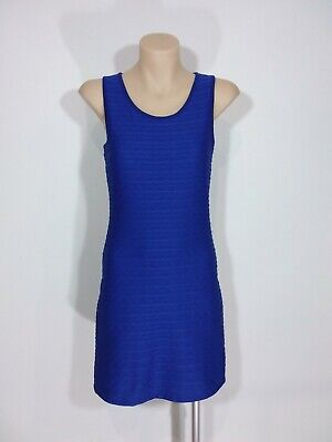 AU23.70 • Buy Forever New Size 6 Blue Sleeveless Textured Fabric Bodycon Lined Dress