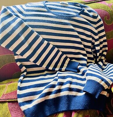 N Peal 100% Cashmere Stripy Jumper Sweater Large XL • 115£