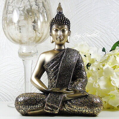 Large THAI BUDDHA Meditating Gold Ornament Statue Figurine Home Art Deco 28 Cm • 26.90£