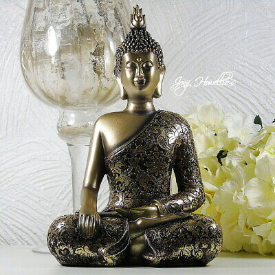 Large THAI BUDDHA Meditating Gold Ornament Figurine Statue Home Art Deco 28 Cm • 26.90£