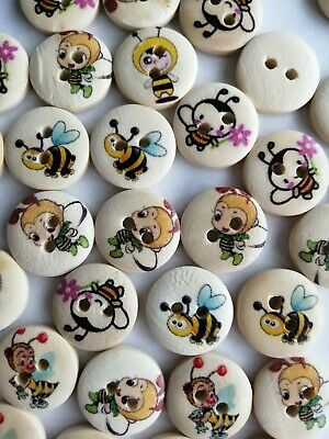 £3.69 • Buy 50 Wood Bee Buttons Animal Bumble Bee Bugs Cute Eco Wooden 15mm Manchester