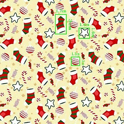 £4.99 • Buy Polycotton Christmas Print Bauble Socks Candy Canes Stars 45 Wide Cofabric D#292