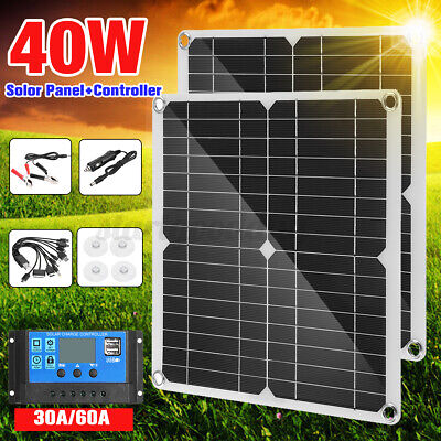 £30.76 • Buy 40W Portable Solar Panel Kit Battery Charger Controller Waterproof For Camping