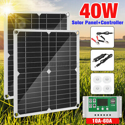 £25.43 • Buy Portable 40W Solar Panel Kit 12V Battery Charger With Controller Caravan Boat