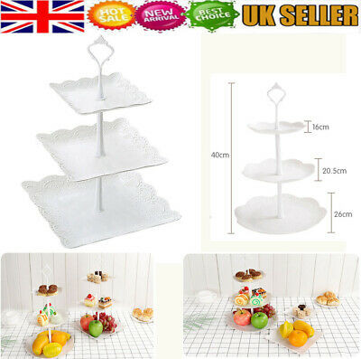 3 Tier Cake Stand Wedding Serving Plate Party Cupcake Tray Dessert Fruit Set@UK • 7.59£
