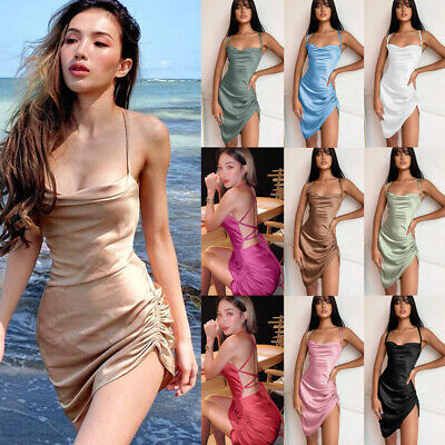 £7.85 • Buy Womens SEXY Backless Satin Bodycon Faux Silk Party Lace Up Ruched Mini Dress UK