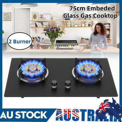 AU149.99 • Buy Gas Cooktop 75cm LPG Kitchen Stove 2 Burner Cook Tops Cooking Cookware AU NEW