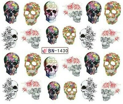 £1.75 • Buy Nail Art Stickers Water Decals Transfers Halloween Gothic Skulls Roses (BN1430)