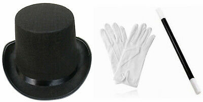 £8.99 • Buy Adult Child Top Hat White Gloves Wand Magician Fancy Dress Costume Magic Circle