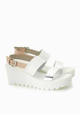 £12.95 • Buy Ex Miss Selfridge Leather Upper White & Silver Wedge  Size 3 - 4 Rrp £39