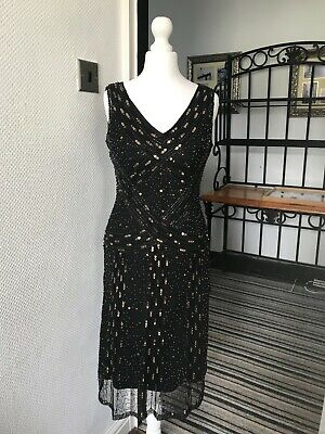 £8 • Buy PRINCIPLES PETITES Black Bead And Gold Sequins Evening Dress Size 8