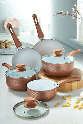 5pc Rose Pink Rim Non Stick Sauce Pan Set Ceramic Interior Insulated Handles • 39.99£