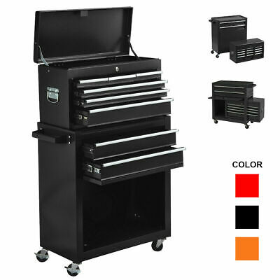 View Details 2 In 1 Rolling Cabinet Tool Chest Cabinet Steel Storage Box W/8 Drawers & Wheels • 229.99$