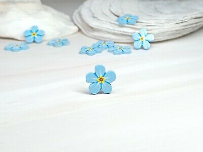 £4.75 • Buy Forget Me Not Hand Painted Pin Small Blue Flower Missing Miss You Jewellery Gift