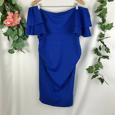 AU49.95 • Buy ASOS Maternity Blue Ruffled Top Off The Shoulder Blue Fitted Cocktail Dress - 14