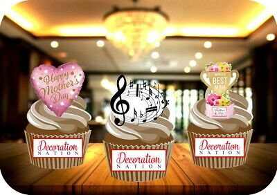 £2.99 • Buy Mothers Day Musical Notes Trio Mix 12 Edible STANDUP Cake Toppers Decoration Fun