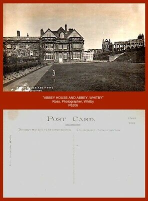 £3 • Buy Ross, Photographer, Whitby -   ABBEY HOUSE AND ABBEY   B/w Gloss Real Postcard