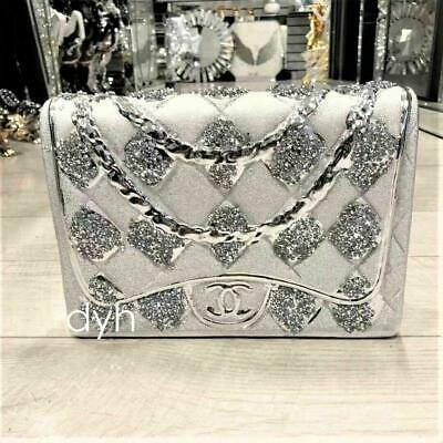 £22.99 • Buy Silver Crushed Diamond Sparkly Hand Bag Ornament Decoration Shelf Sitter Bling