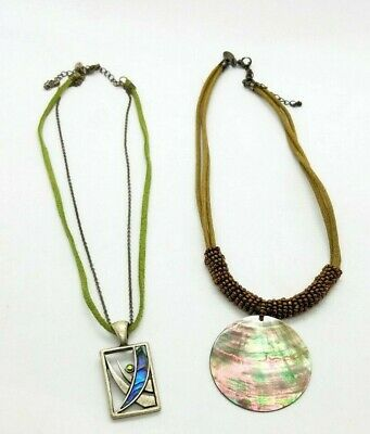 $ CDN25.05 • Buy Lia Sophia Abalone Mother Of Pearl Pendant Necklace Lot Of 2