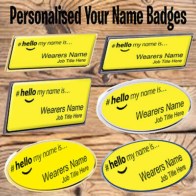 £4.99 • Buy Hello My Name Is Premium Personalised Name Badges Magnet Pin Yellow