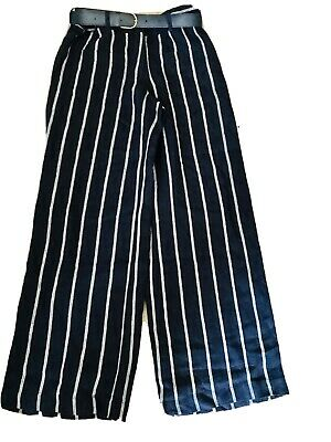 £5.50 • Buy Ladies Size 8 Navy Striped Linen Trousers By Monsoon.