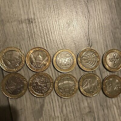 Mixed Lot Of Rare 2 Pound Coin Job Lot X 10 Inc. R Trevithick. Darwin. Rugby • 26£