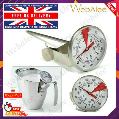 £5.39 • Buy Milk Thermometer With Clip For Jug Stainless Steel Probe Frothing Latte Coffee
