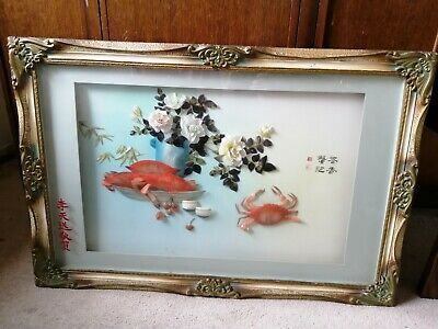 A Large Oriental Chinese Shell Sculpture Art. Wall Hanging Picture • 30£