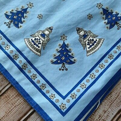 $ CDN29.05 • Buy Vintage Kolf Austria Folk Art Christmas Tree & Angel Blue Silver Tablecloth 50