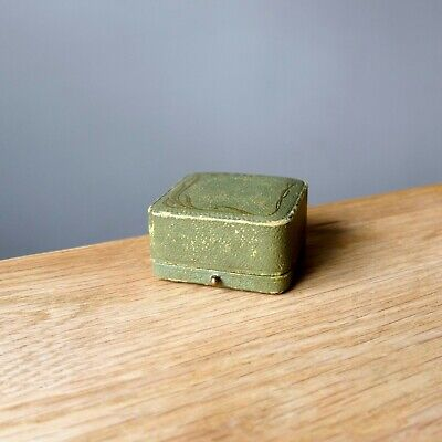 ANTIQUE RING BOX Vintage Faux Leather Wooden Cased Jewellery Ring Box • 21£