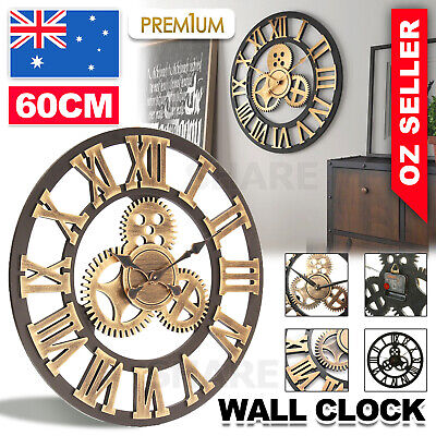 AU33.95 • Buy 60cm Large Handmade Clock Gear Wall Clock Vintage Rustic Luxury Art Home Decor