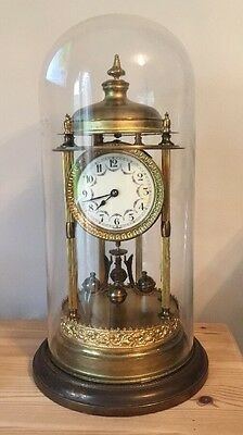 £445 • Buy Large Antique German 400 Day Anniversary Glass Dome Clock Early 1900